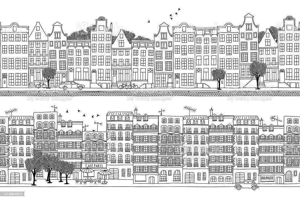 Amsterdam and Paris banner vector art illustration