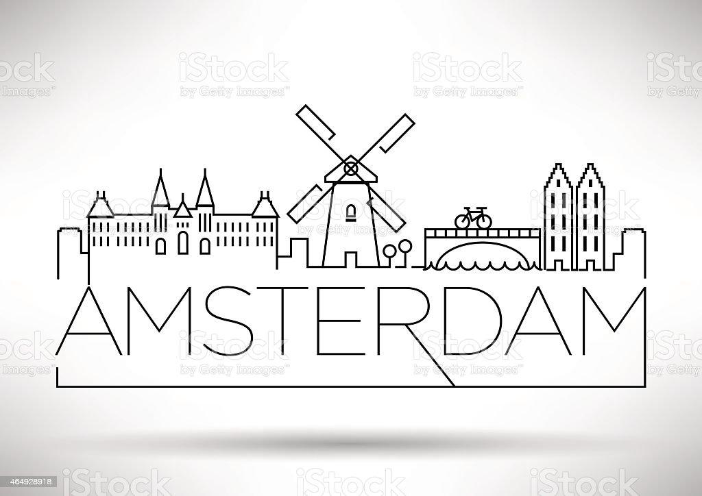 Amsterdam City Line Silhouette Typographic Design vector art illustration