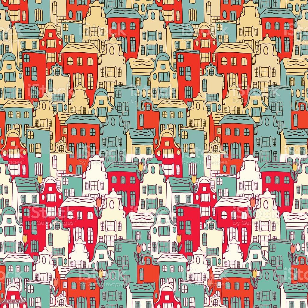 Amsterdam patrón sin costuras de la ciudad. illustracion libre de derechos libre de derechos