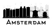 Amsterdam City skyline black and white silhouette.