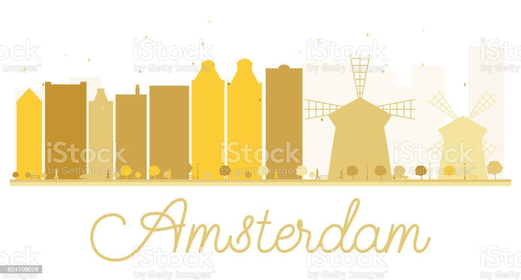 Amsterdam City skyline golden silhouette. vector art illustration