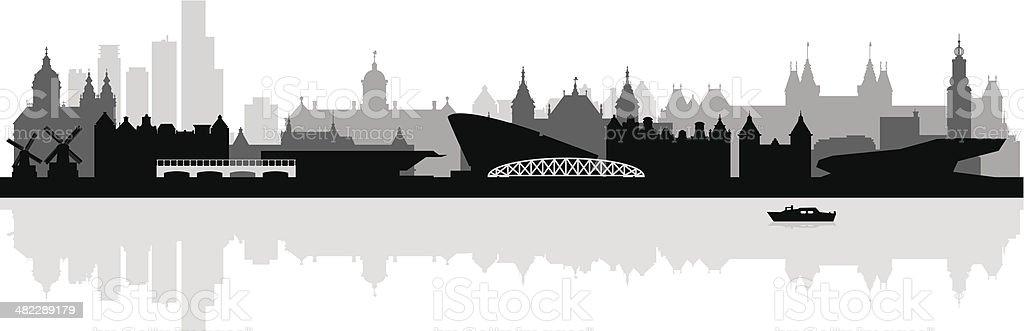 Amsterdam city skyline silhouette background vector art illustration