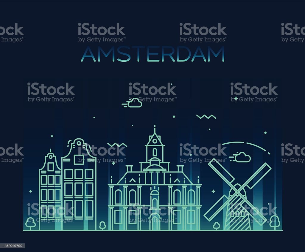 Amsterdam City skyline Trendy vector line art vector art illustration
