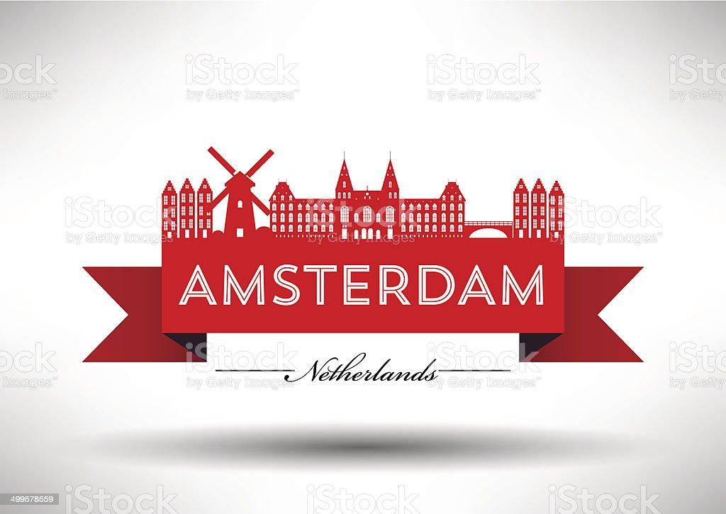 Amsterdam City Skyline with Typographic Design vector art illustration