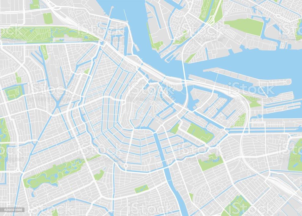 Amsterdam colored vector map vector art illustration