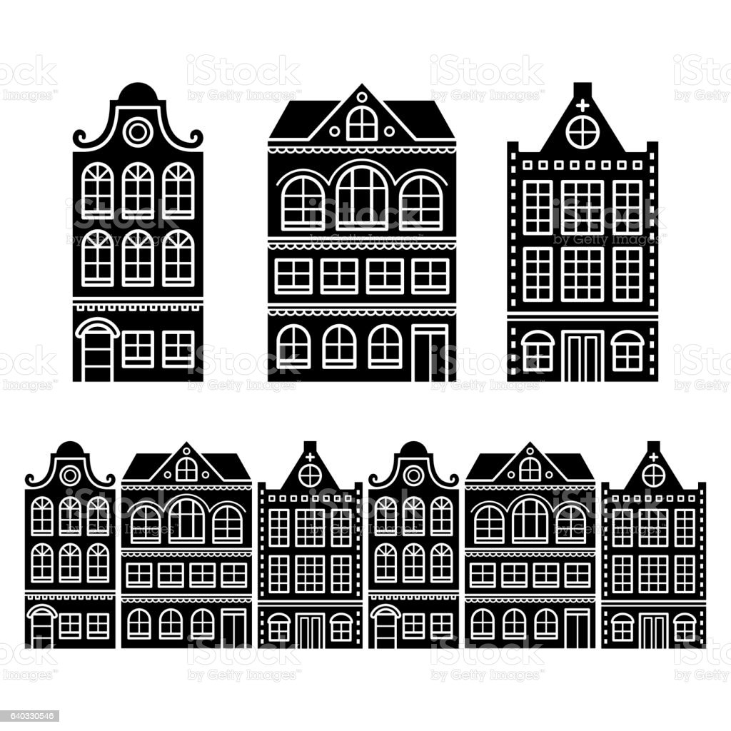 Amsterdam houses, Dutch buildings, Holland or Netherlands archictecture icons vector art illustration