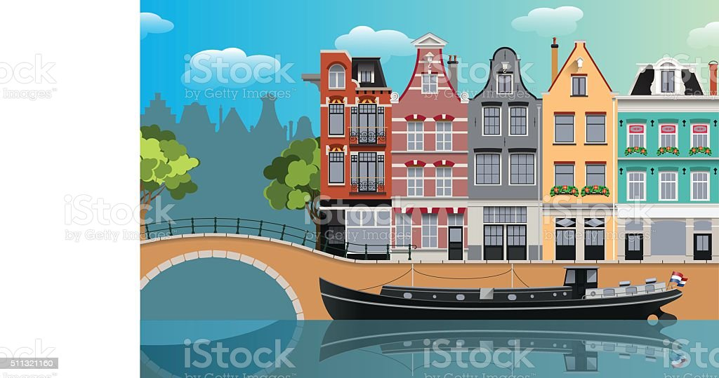 Amsterdam landscape vector art illustration
