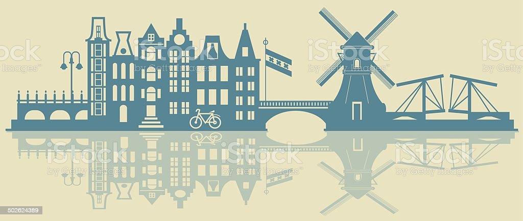 Amsterdam skyline vector art illustration