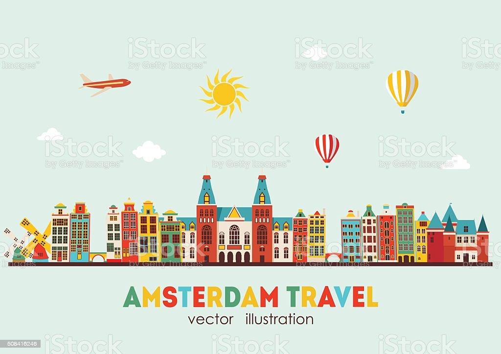 Amsterdam skyline. Vector illustration vector art illustration