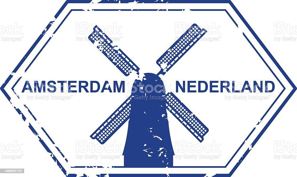 Amsterdam Stamp vector art illustration
