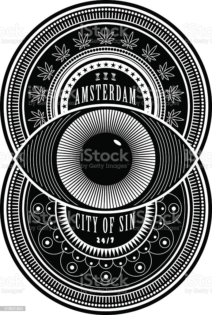 Amsterdam the City of Sin vector art illustration