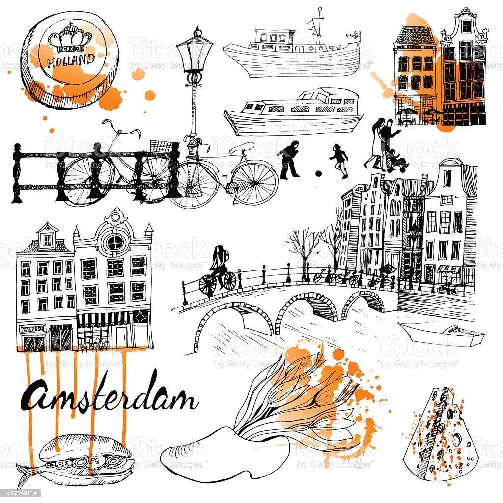 Amsterdam vector art illustration