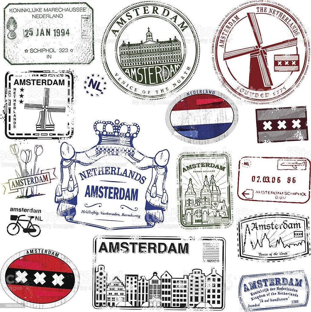 Amsterdam Vintage Stamps vector art illustration