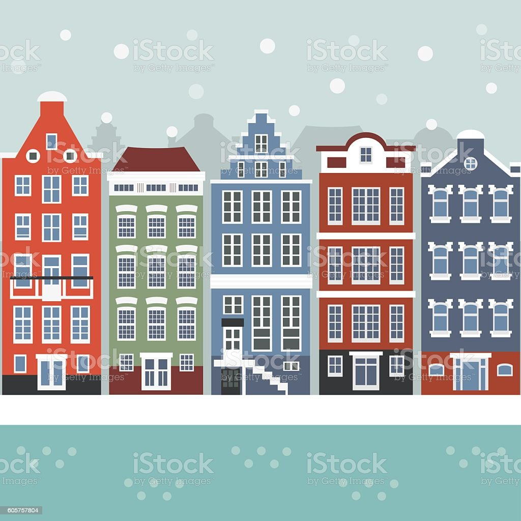 Amsterdam winter city scene vector art illustration