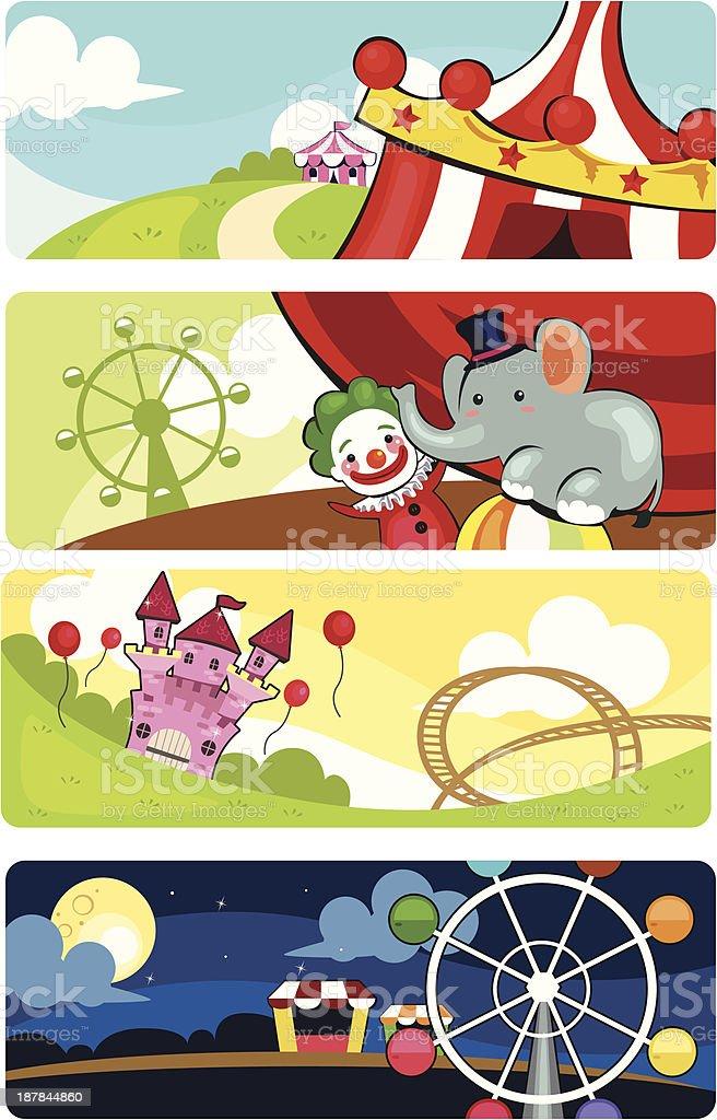 Amusement park banners royalty-free stock vector art