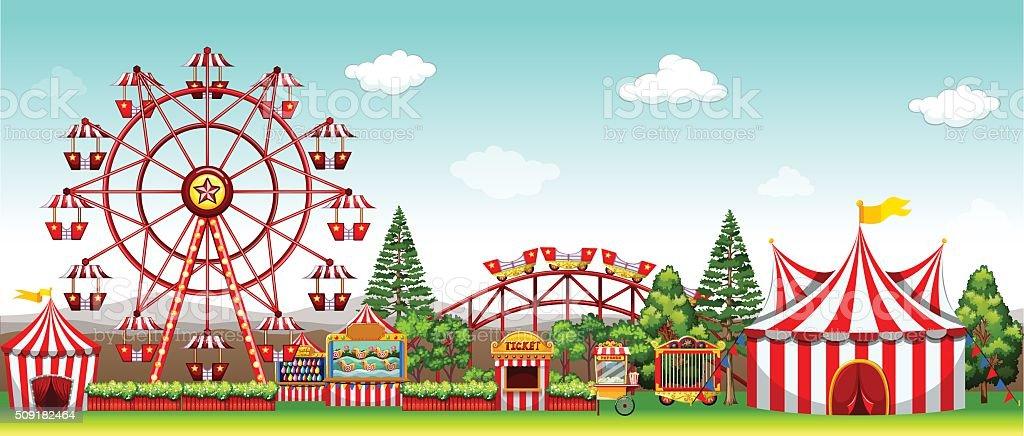 Amusement park  daytime vector art illustration