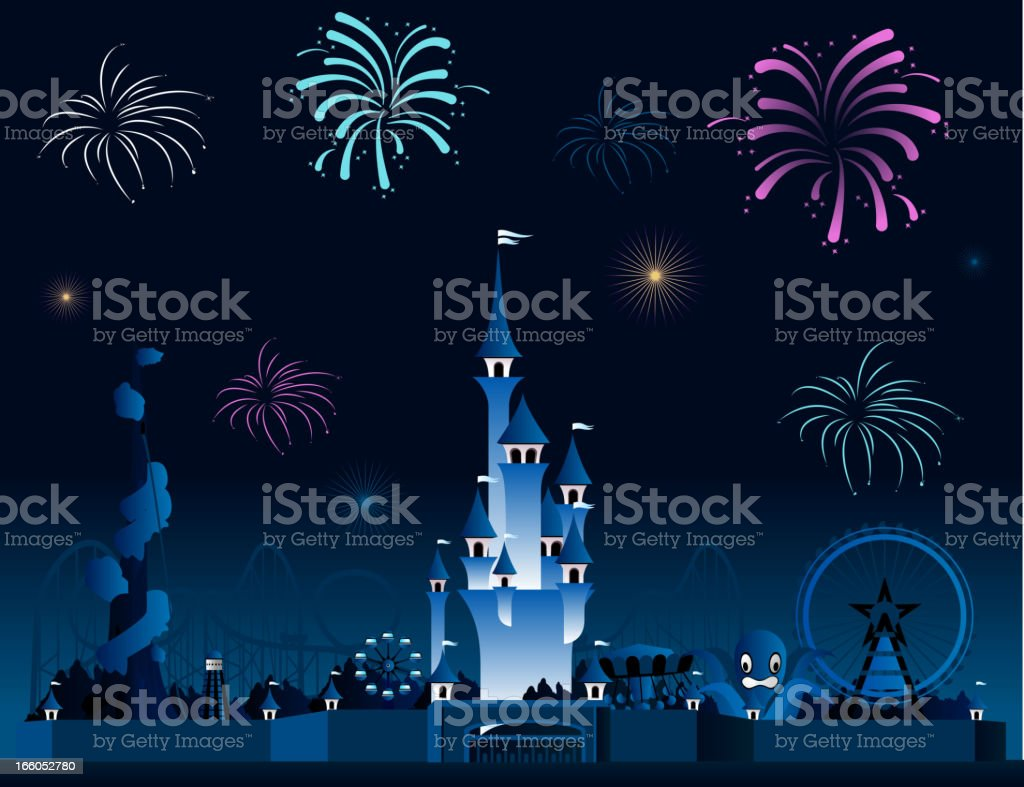 Amusement park fireworks display pyrotechnia vector art illustration