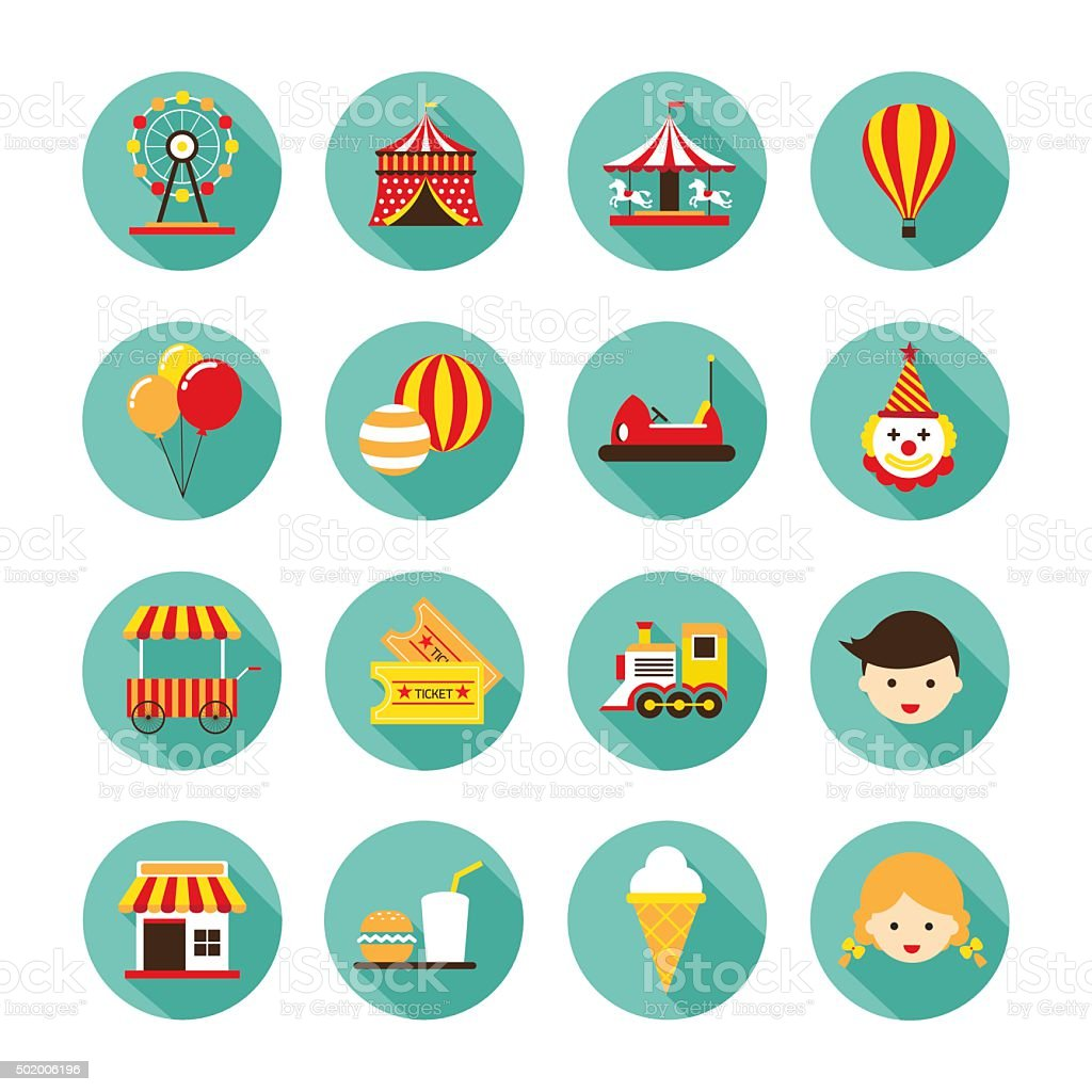 Amusement Park Flat Icons Set vector art illustration
