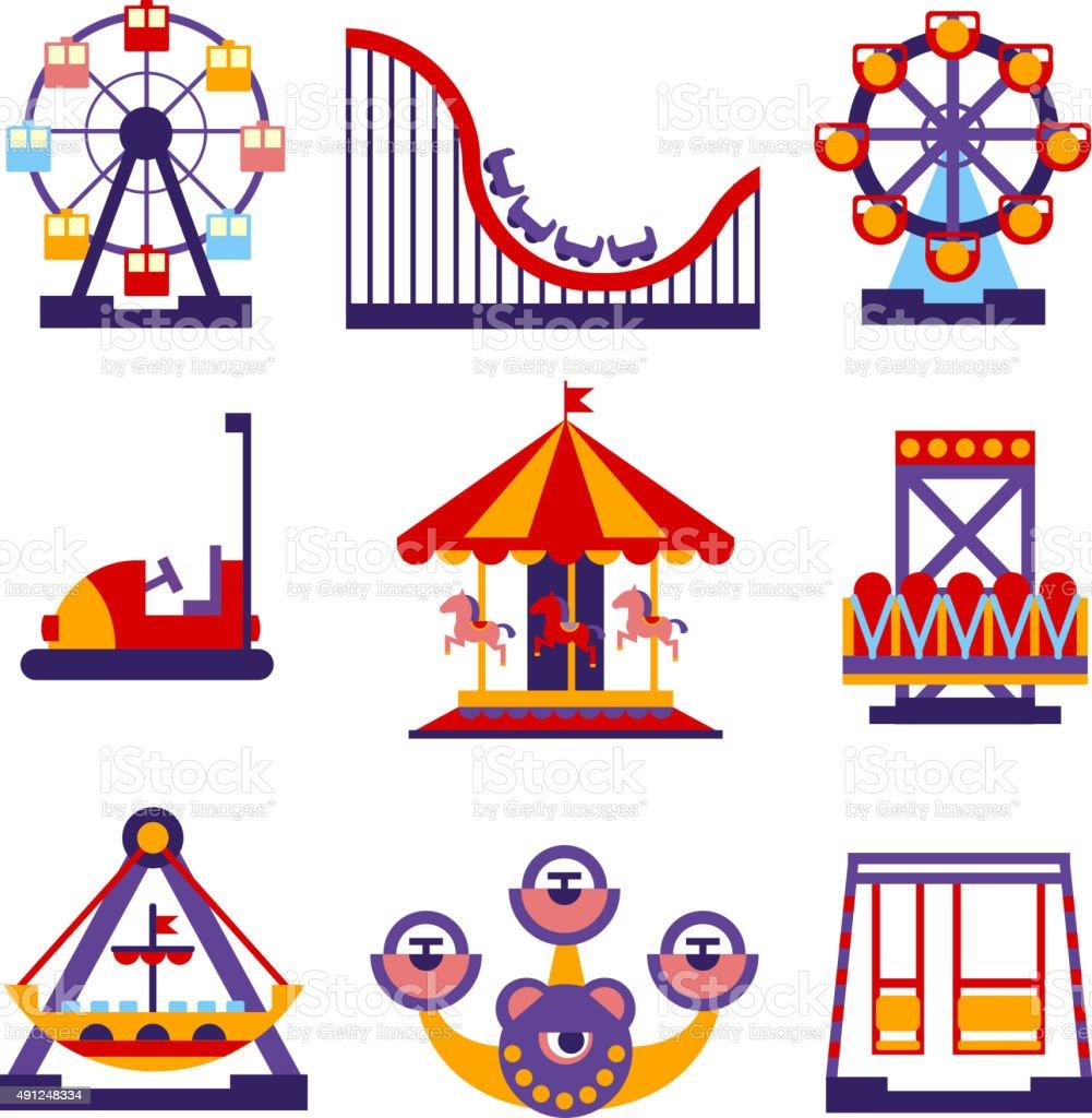 Amusement Park Icons Set of Vector Flat Design Illustrations vector art illustration