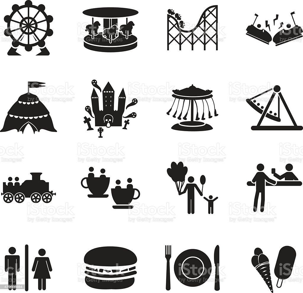 Amusement park icons set vector art illustration