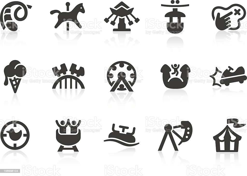 Amusement Park icons vector art illustration