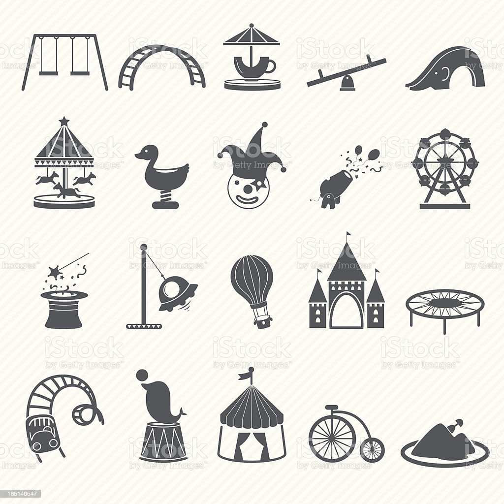 Amusement Park icons royalty-free stock vector art
