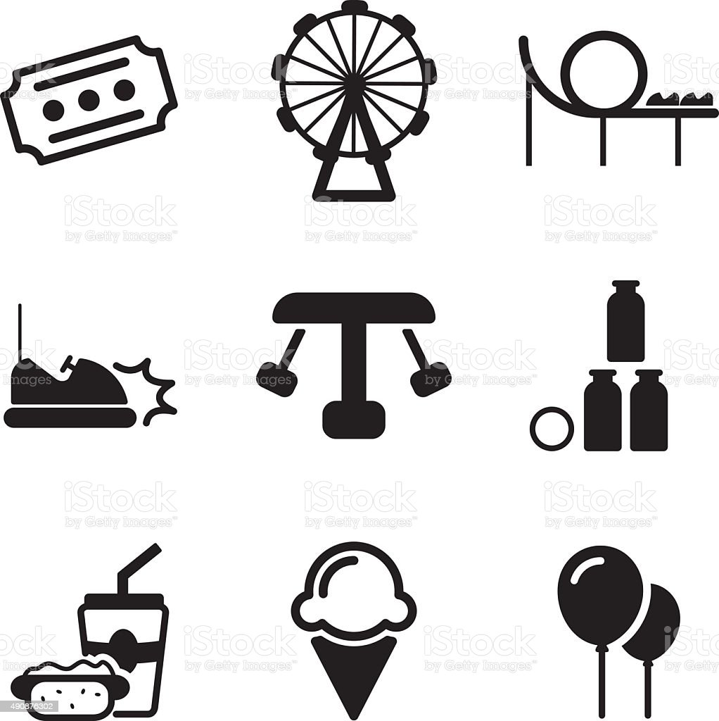 Amusement Park Icons vector art illustration