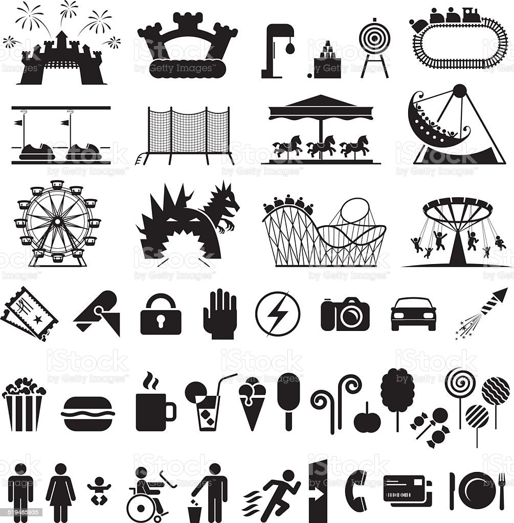 Amusement park icons. vector art illustration