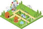 Amusement Park Isometric View. Vector