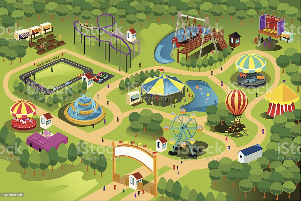 Amusement park map vector art illustration