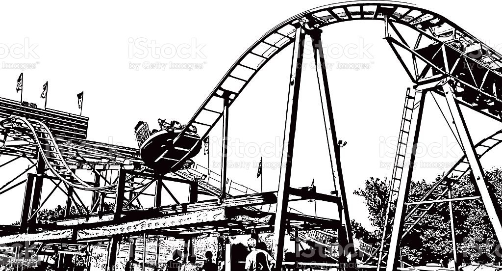 Amusement Park Midway and Roller Coaster, Isolated On White vector art illustration