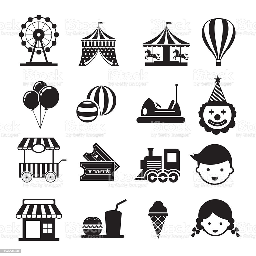 Amusement Park Mono Icons Set vector art illustration