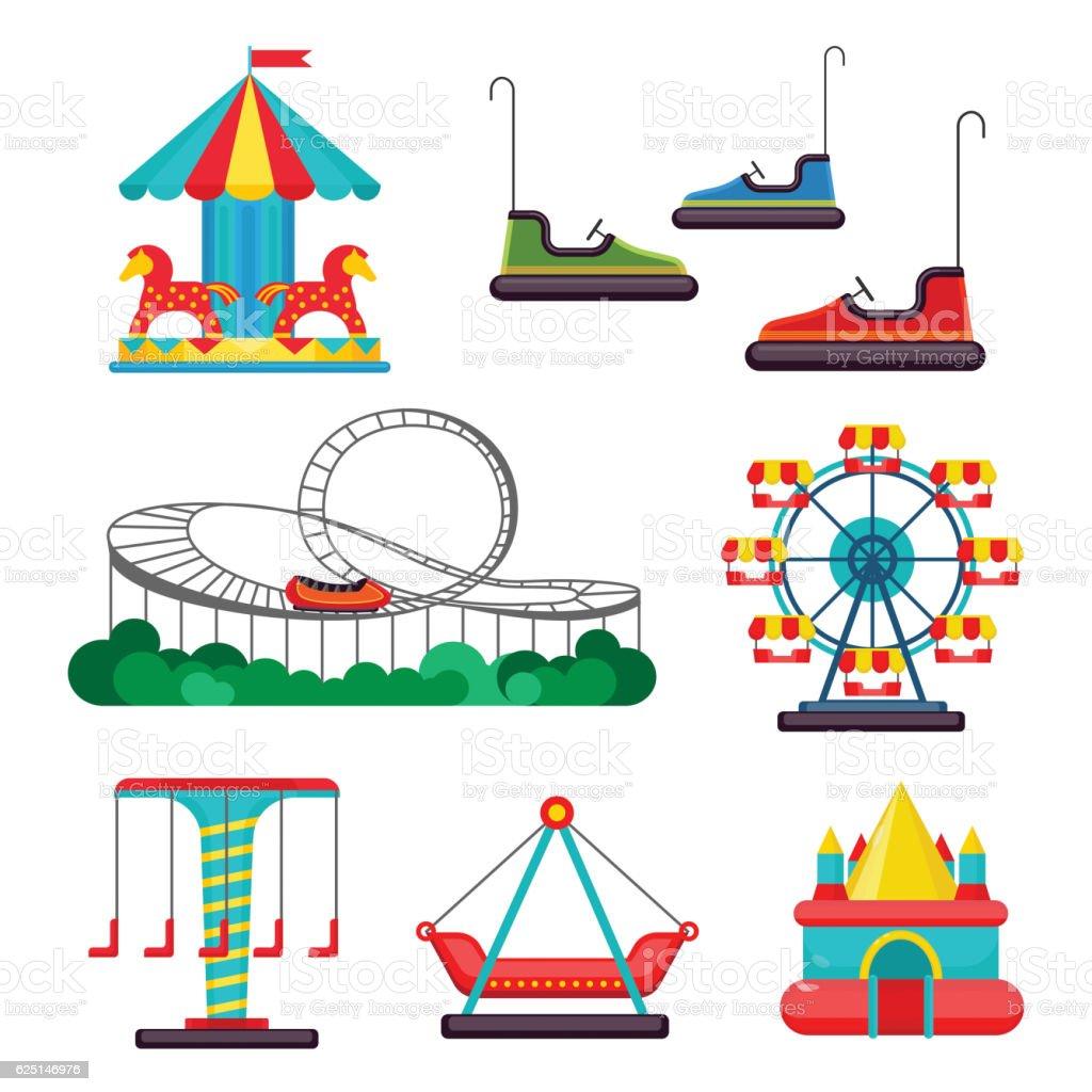 Amusement Park Ride. Set of Attractions. Vector vector art illustration