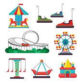 Amusement Park Ride. Set of Attractions. Vector