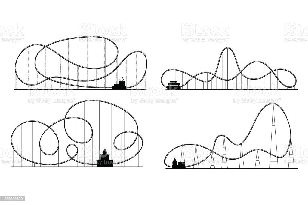 Amusement Park Roller Coaster Black Silhouettes Set. Vector vector art illustration