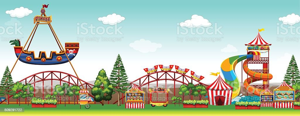 Amusement park scene with rides vector art illustration