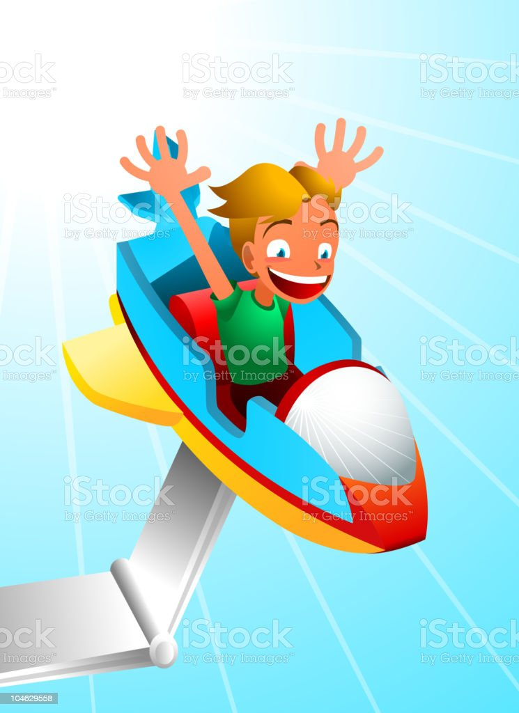 Amusement Park Spaceship Ride royalty-free stock vector art