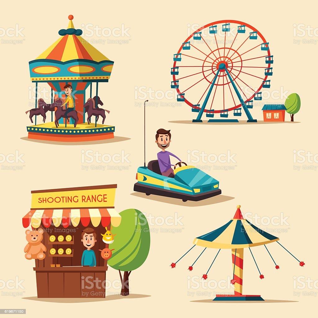 Amusement park theme. Cartoon vector illustration vector art illustration