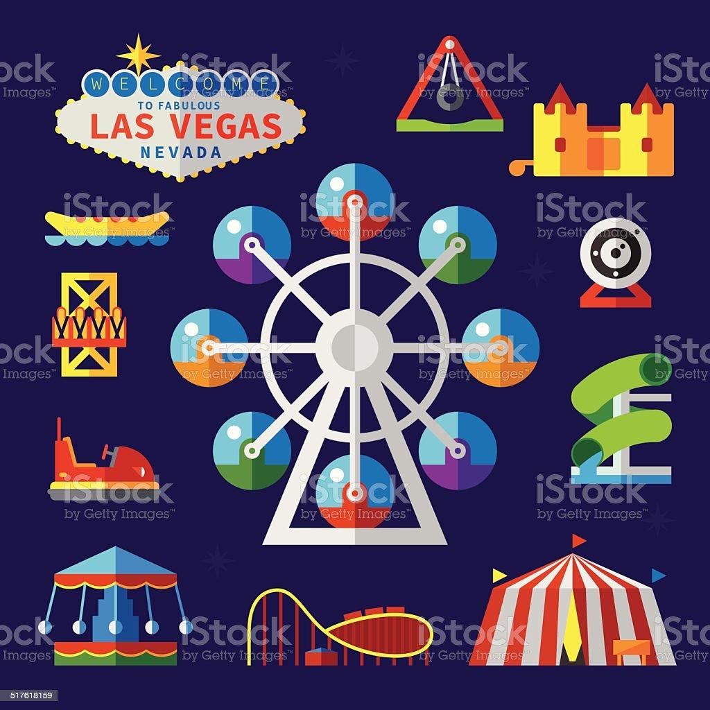 Amusement Park. Vector flat elements vector art illustration