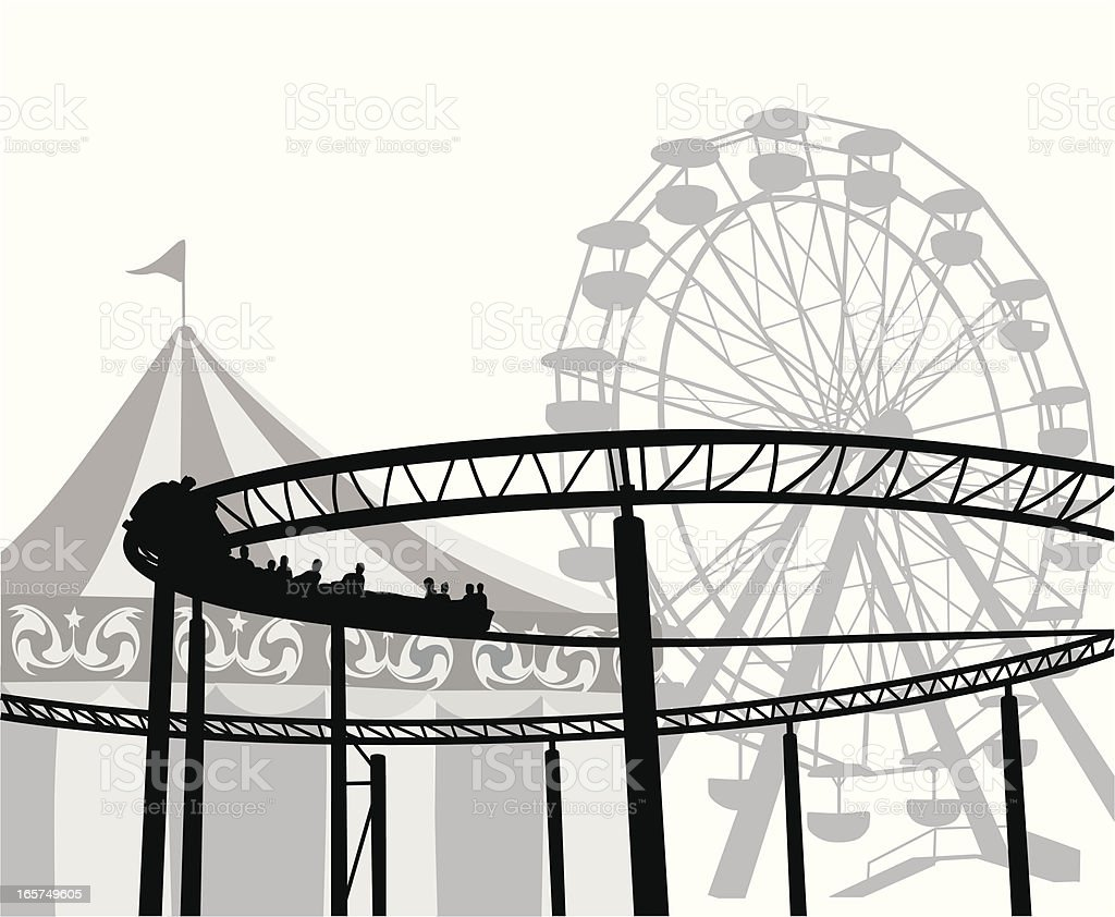 Amusement Ride Vector Silhouette royalty-free stock vector art