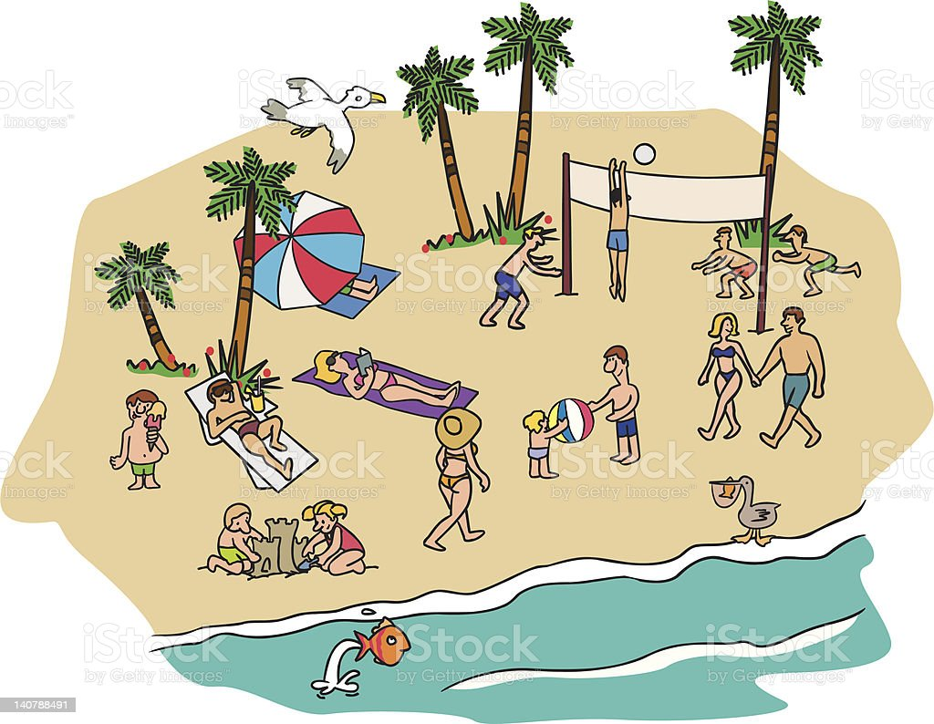amusing beach scene with people playing in the sand royalty-free stock vector art
