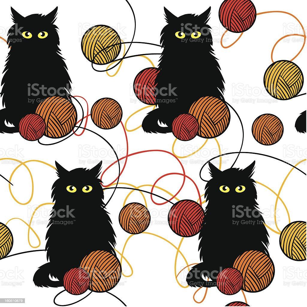amusing kittens with wool balls - vector seamless pattern royalty-free stock vector art