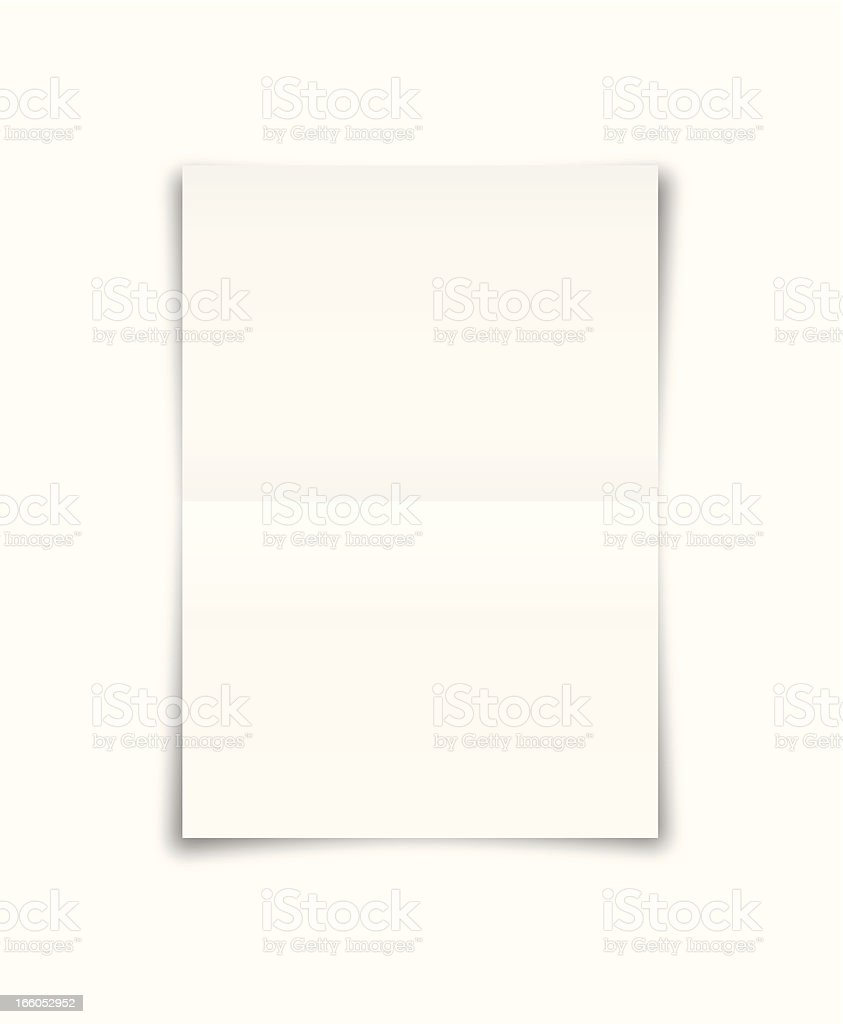 An A4 sheet of white paper that has been folded in half royalty-free stock vector art