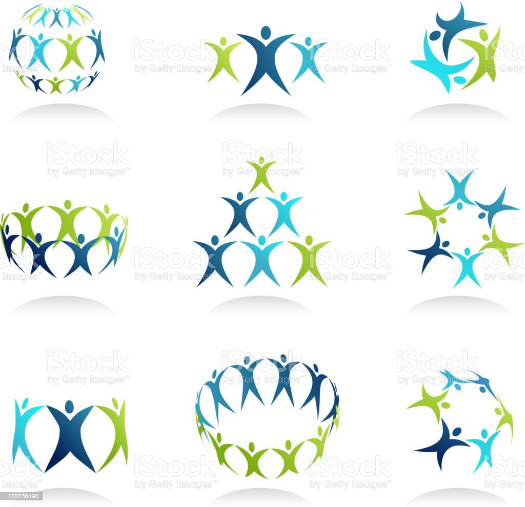 An abstract background of people group icons  vector art illustration