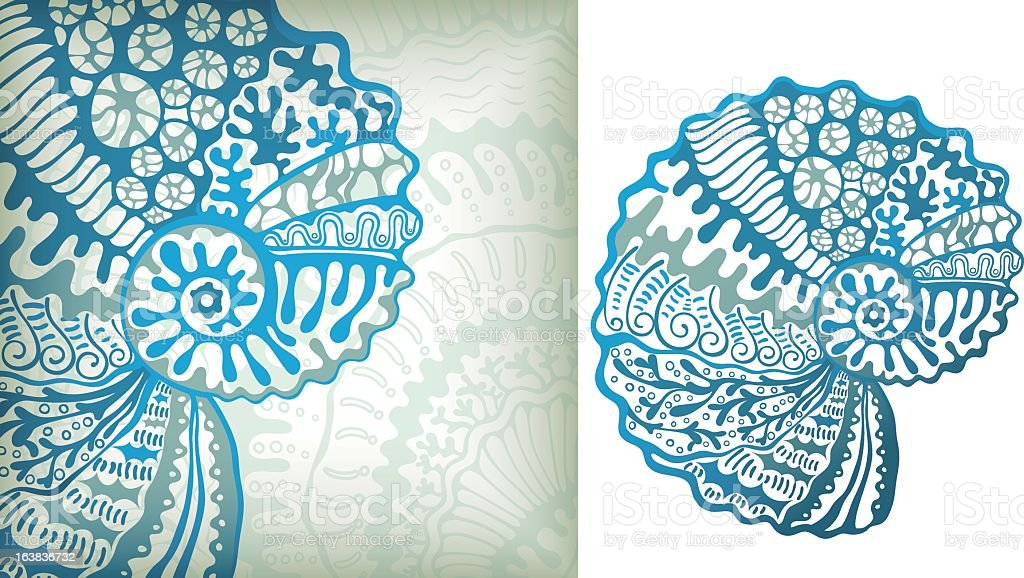 An abstract depiction of a seashell using blue swirls vector art illustration
