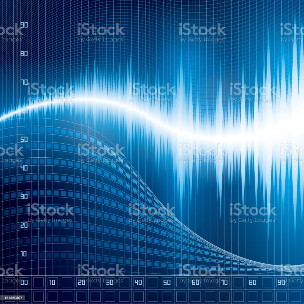 An abstract image of wave frequencies in blue and white  vector art illustration