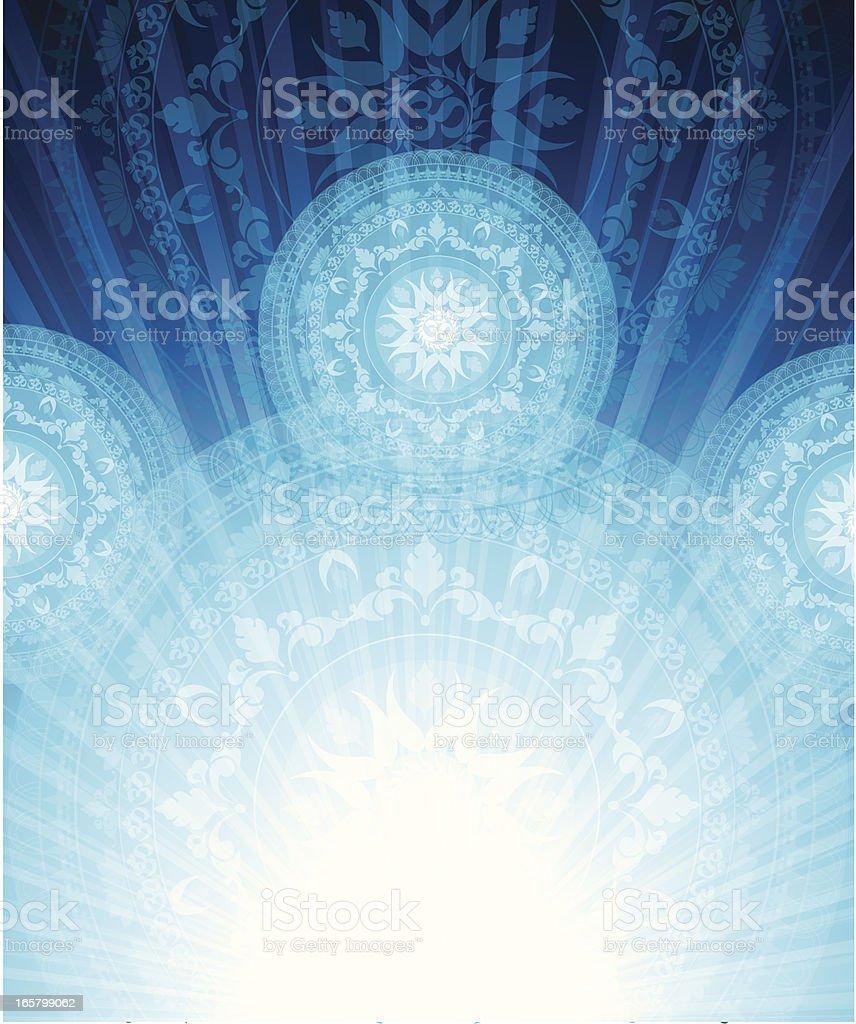 An abstract mandala design in blue vector art illustration