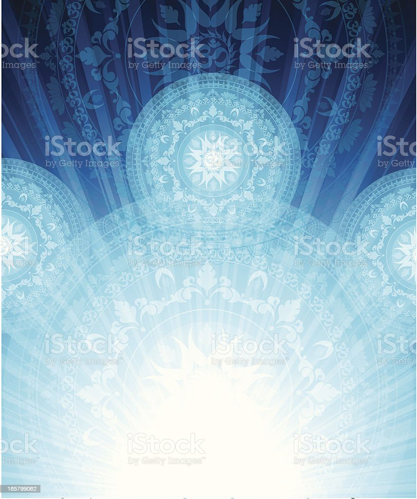 An abstract mandala design in blue vector art illustration