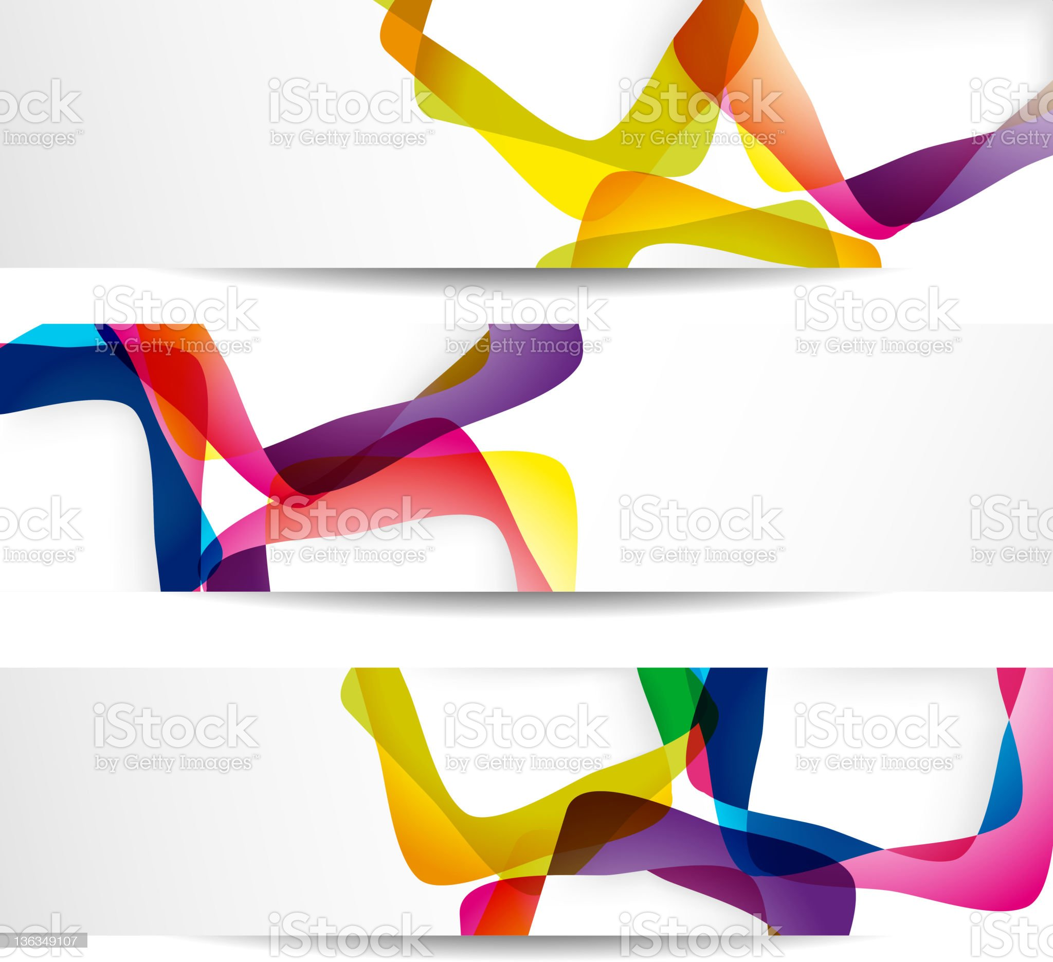 An abstract set of three colorful banners royalty-free stock vector art