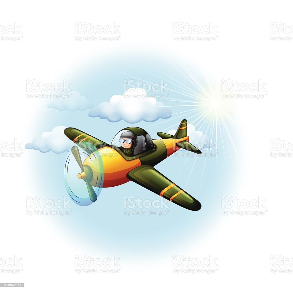 An airplane in the sky vector art illustration